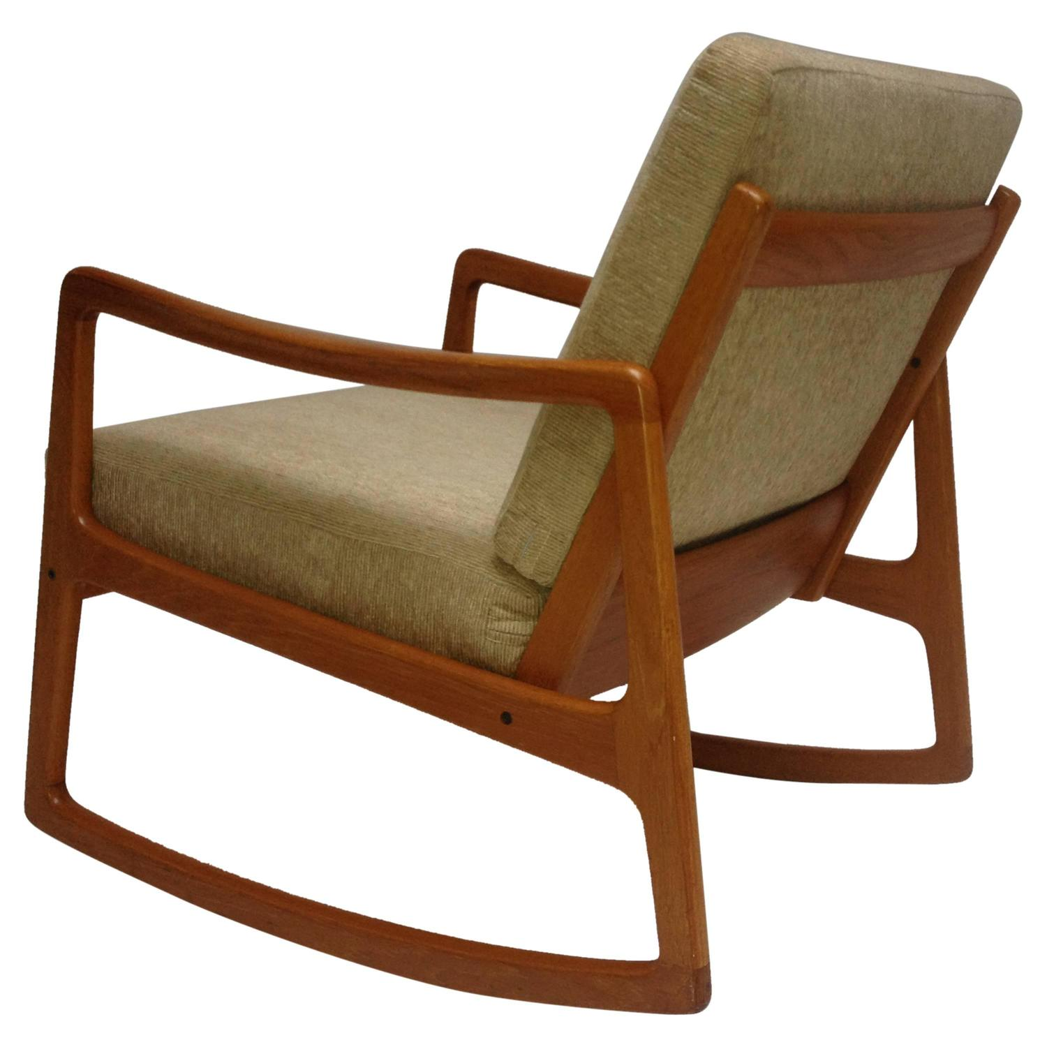 Danish Rocking Chair Danish Teak Rocking Chair By Ole Wanscher For France And