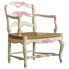 White Ladder Back Chairs Rush Seats Oak Dining Set 6 19th Century Provençale Painted Armchair With