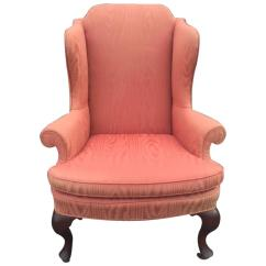 Queen Anne Wing Chair High Back Chairs Style Upholstered In Moire 1935 For
