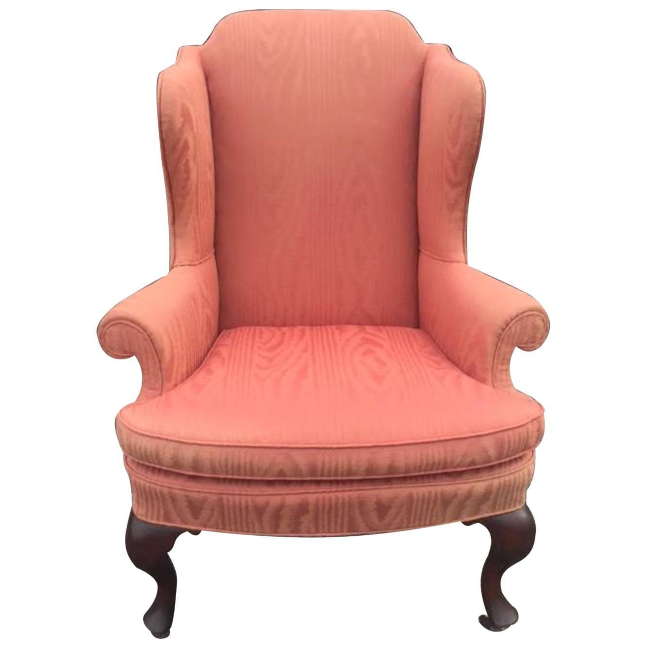 Queen Anne Wingback Chair Queen Anne Style Wing Chair Upholstered In Moire 1935 For