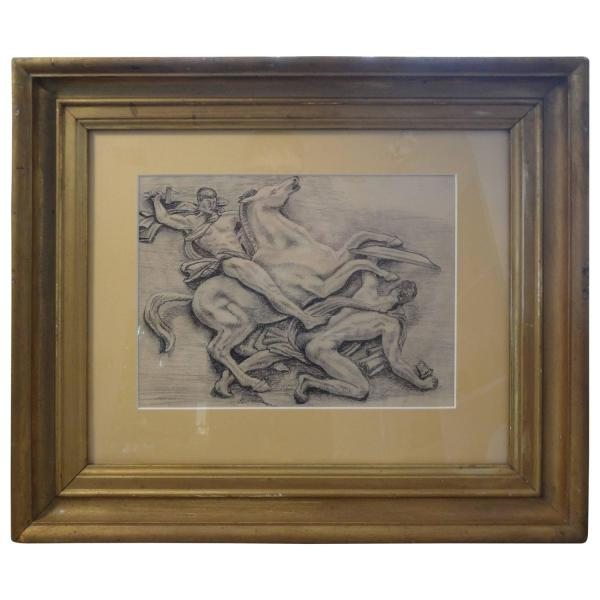 French Art Deco Black And White Framed Drawing For Sale at ...