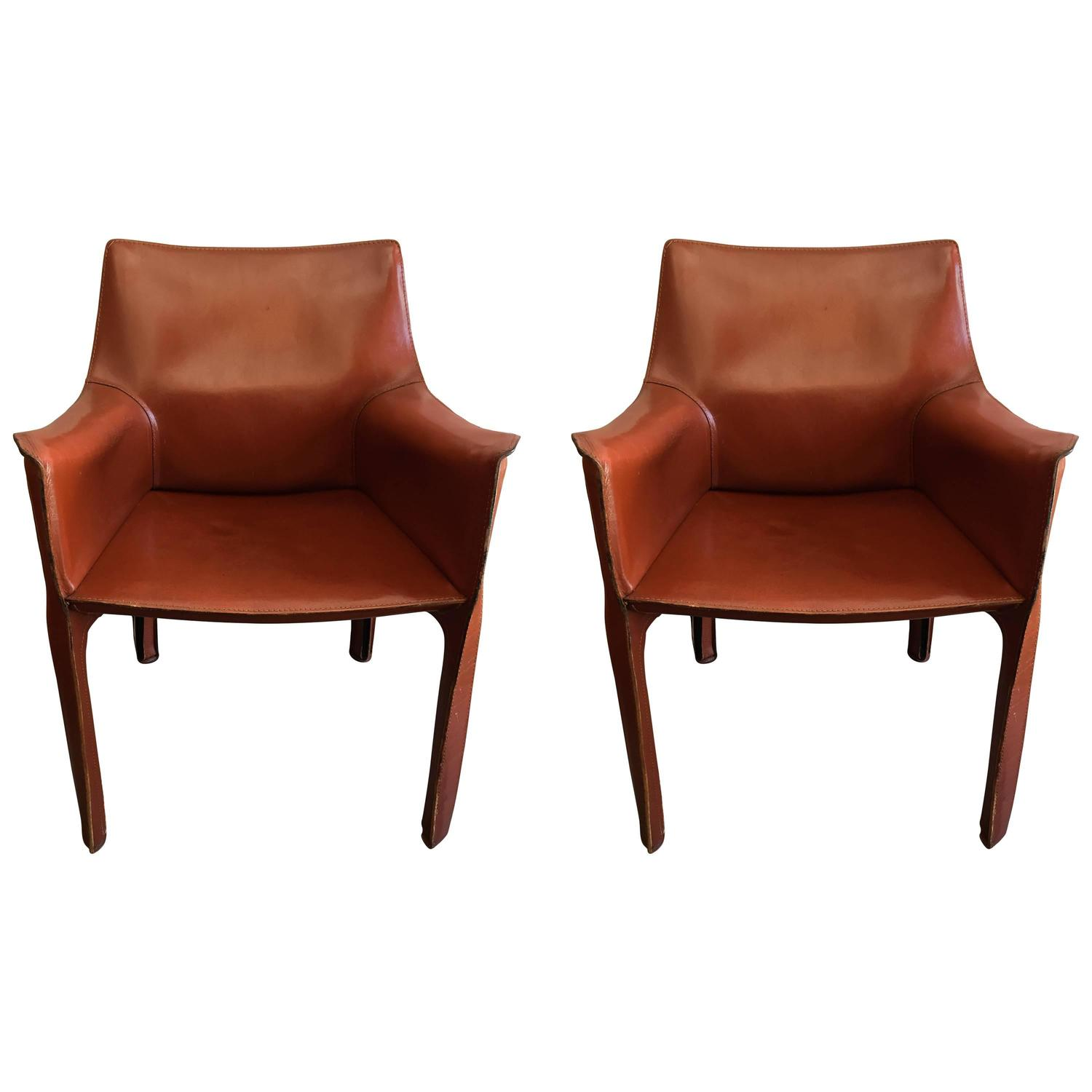 mario bellini chair navy dining room covers pair of cassina cab leather chairs at 1stdibs