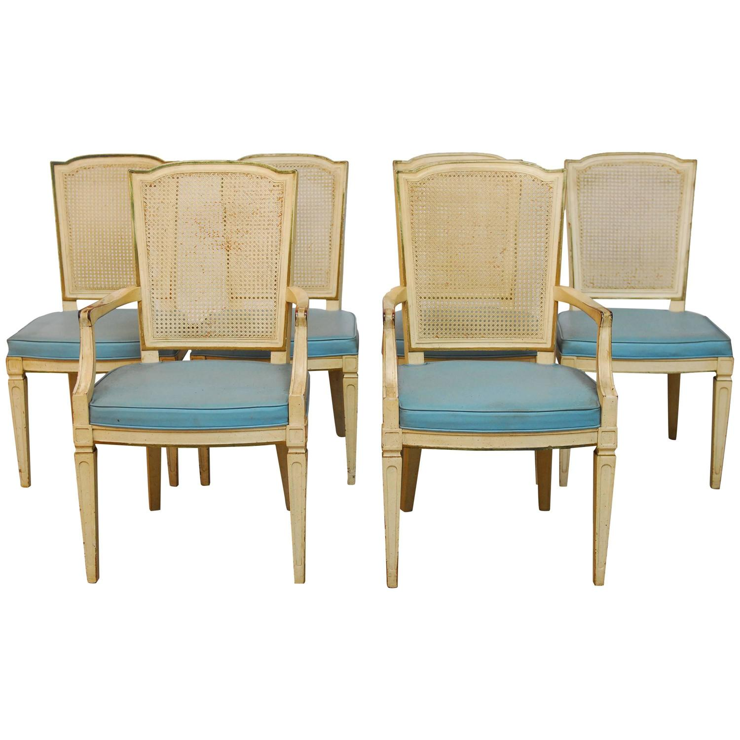 henredon chairs dining room navy and white accent chair set of six louis xvi style cane by