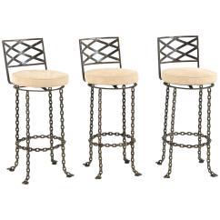 Seng Chicago Chair Swing Dedon Set Of Three Handmade Chain Link Barstools For Sale At 1stdibs