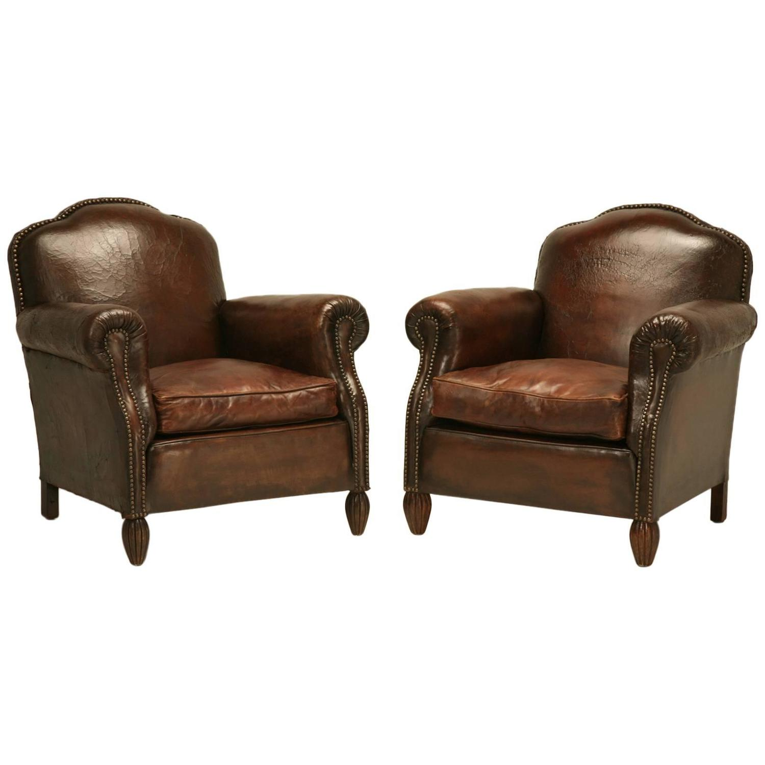 French Club Chair French Leather Club Chairs Circa 1930s At 1stdibs