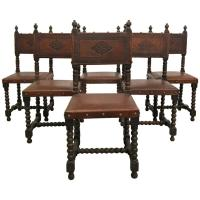 Set of Six Antique Spanish Colonial Stamped Leather Dining ...