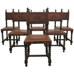Dining Chair Covers In Spanish Antique White Metal Bistro Garden Table And Chairs Set Of Six Colonial Stamped Leather