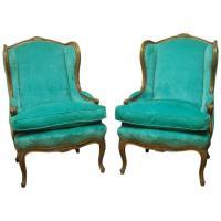 Pair of Louis XV Style Turquoise Velvet Wingback Bergres ...