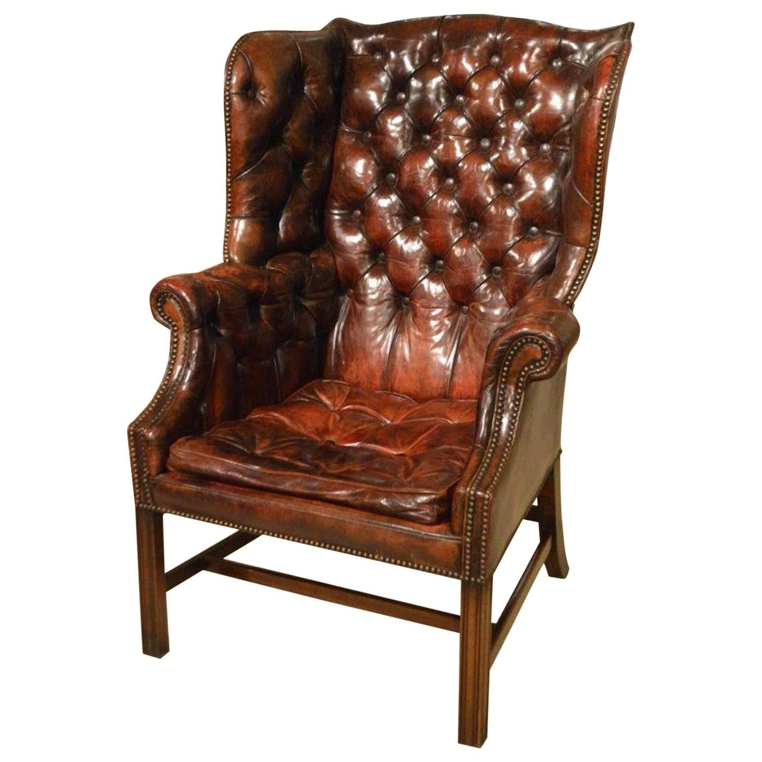 traditional leather wingback chair toddler beach personalized george iii style gentleman 39s wing armchair at 1stdibs