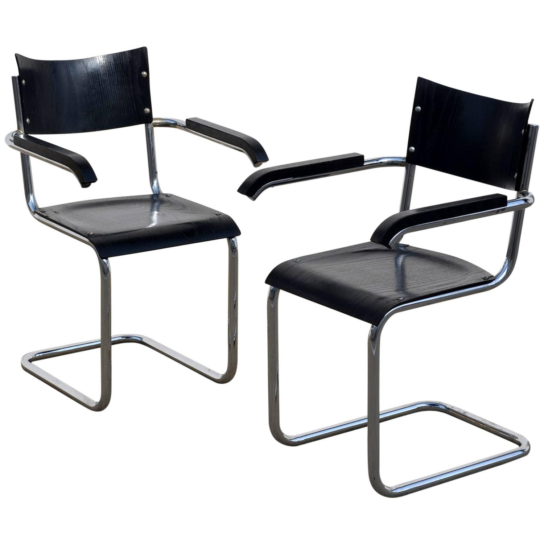 mart stam chair fishing adaptors pair of chic ebonized modernist b43 armchairs by
