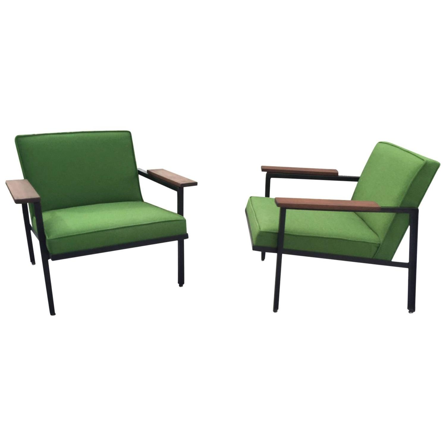 steel lounge chair wheelchair pad pair of george nelson frame chairs