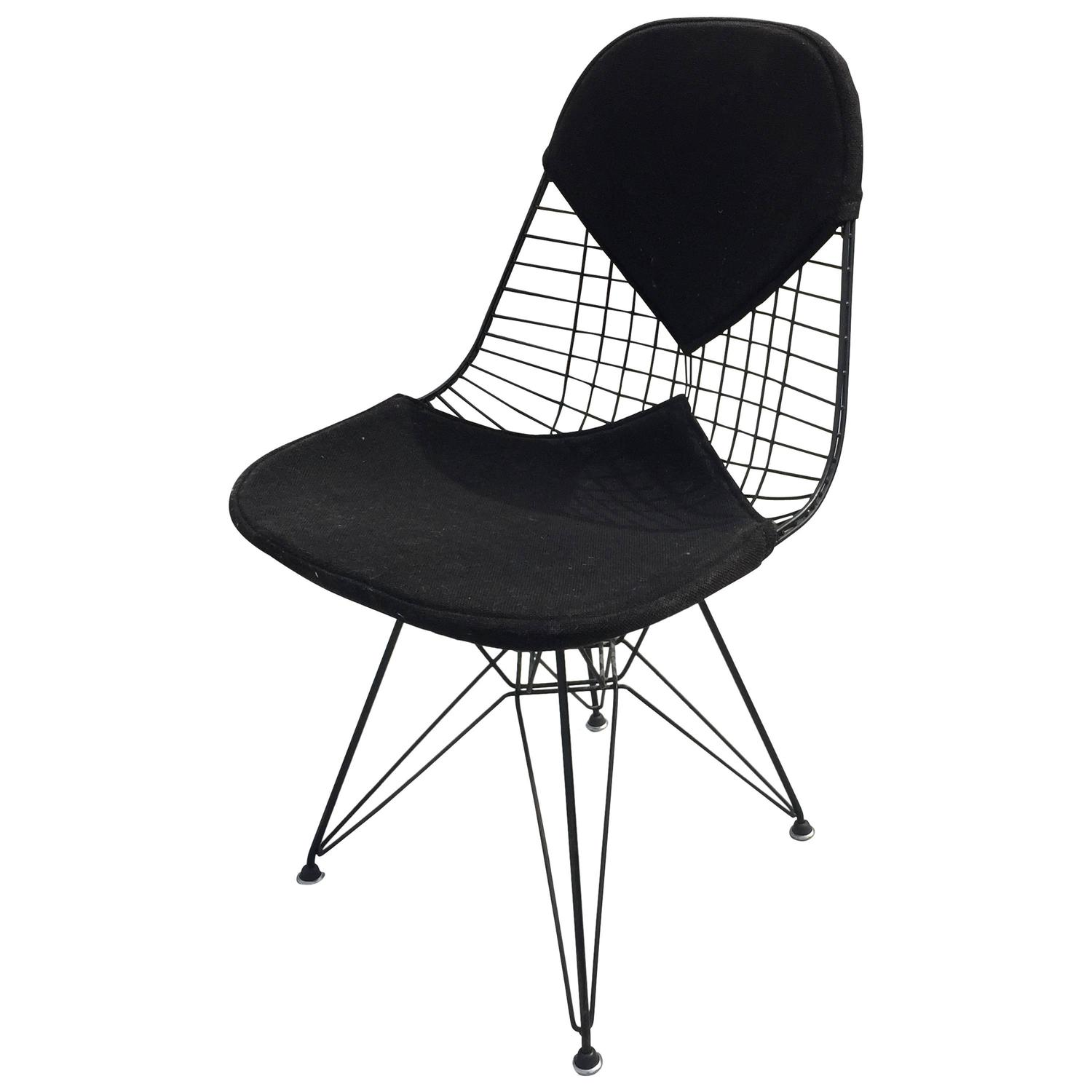 Black Wire Chair All Original Early Production Eames Dkr Bikini Wire Chair