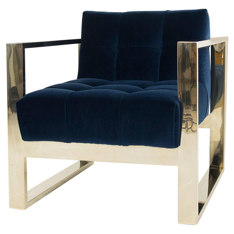 velvet chair design stool amazon brass kube in navy for sale at 1stdibs