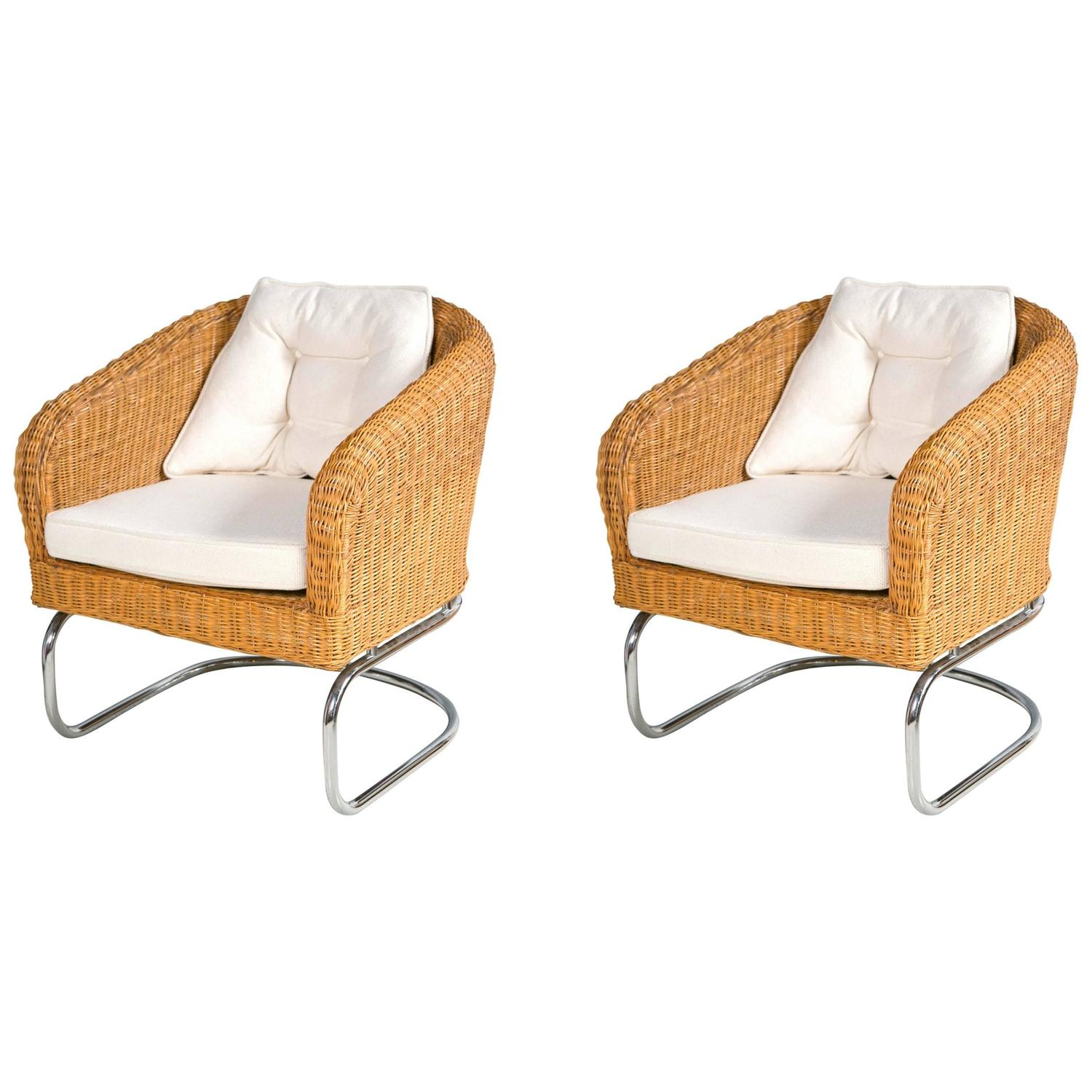 mid century cane barrel chair best inflatable outdoor wicker and chrome chairs at 1stdibs