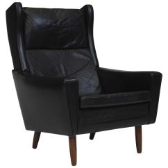 Black Leather Wingback Chair Used Stokke High Mid Century Danish For Sale