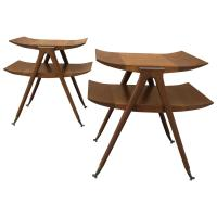 Pair of Mid-Century Modern Two-Tier Pagoda Side/End Tables ...