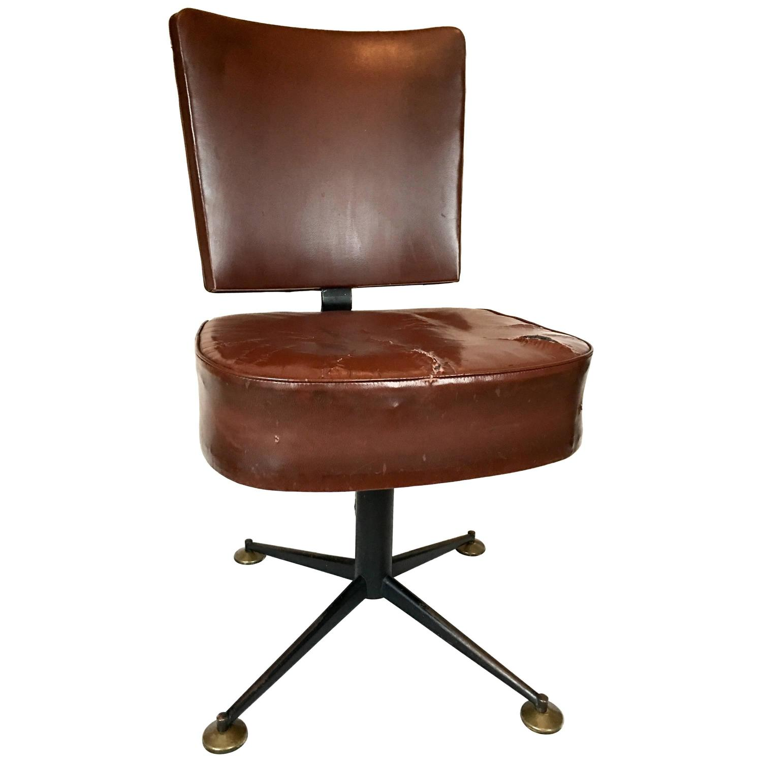 brown leather computer chair steel cost vintage italian desk at 1stdibs