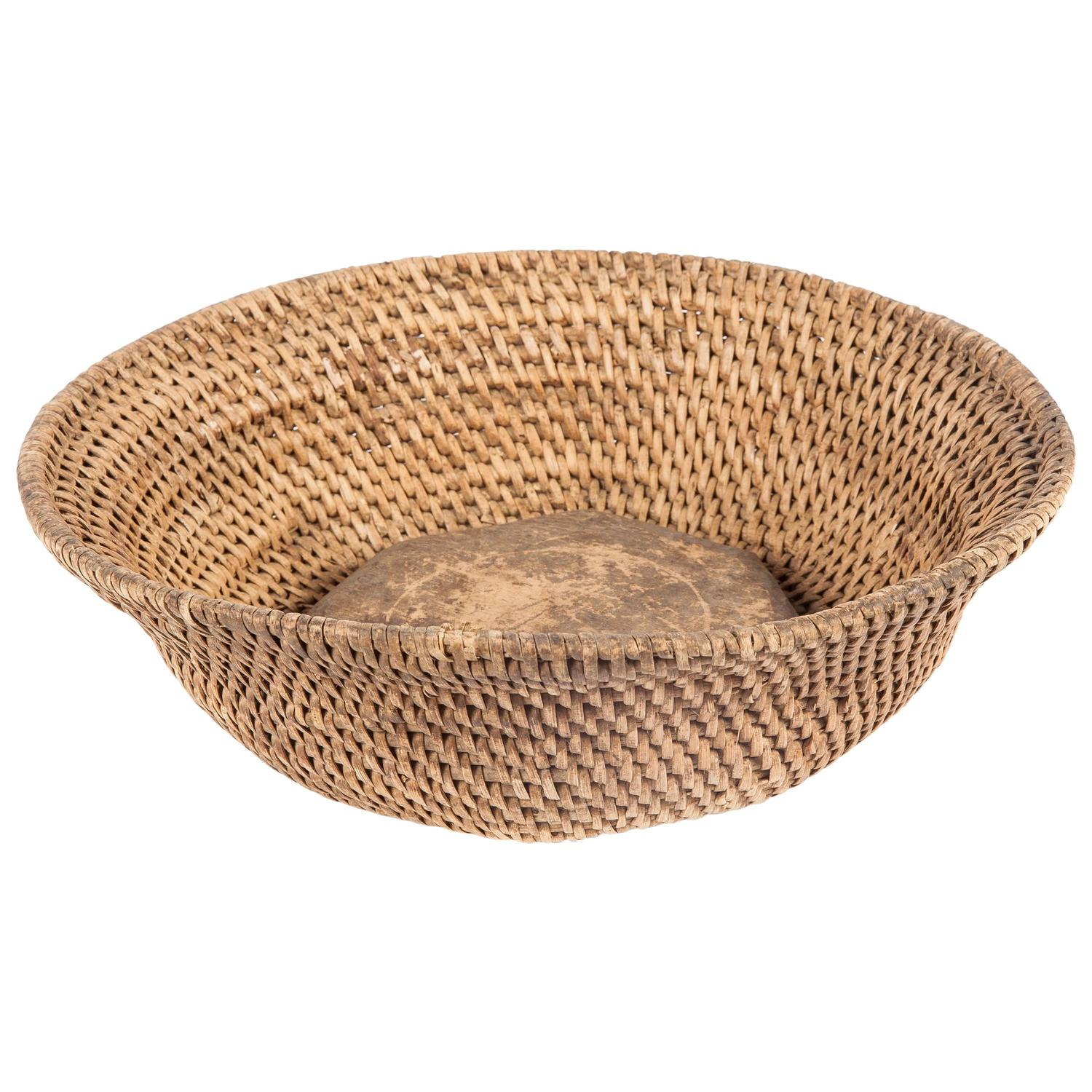 Wicker Bowl Chair Rattan Bowl With Wood Internal Bottom From Southern India