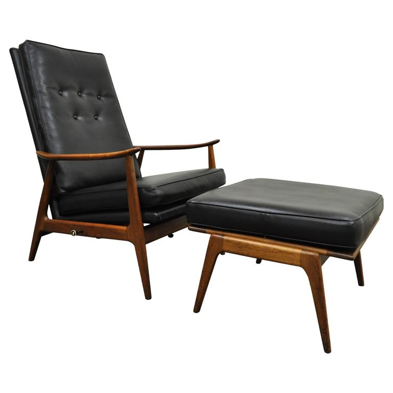 recliner vs chair with ottoman red adirondack chairs milo baughman for james inc thayer coggin walnut lounge sale