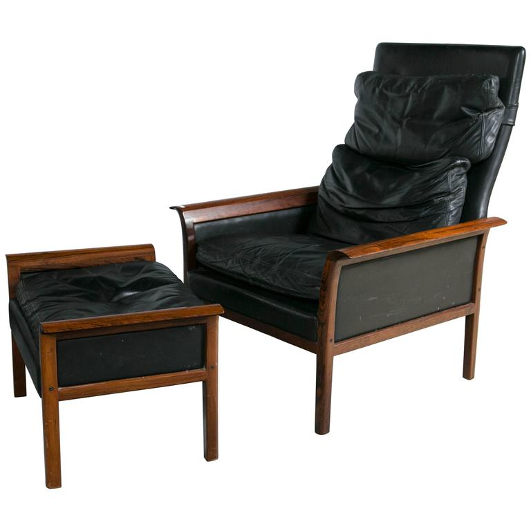 dark brown leather chair aeron adjust height otto hans olsen rosewood danish lounge and ottoman for sale