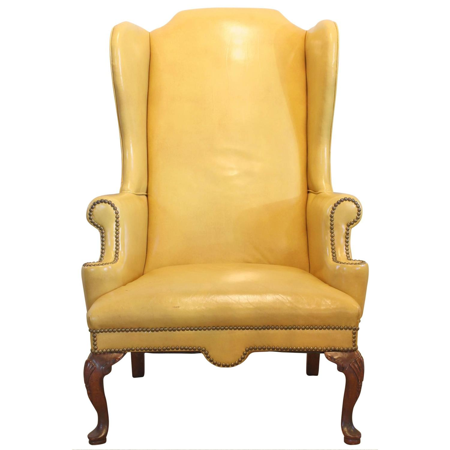 Wing Chair Mustard Yellow Leather Wing Chair At 1stdibs