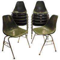 Mid-Century Modern Fiberglass Stacking Chairs at 1stdibs