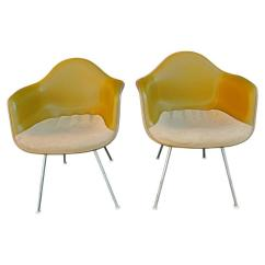 Eames Bucket Chair Cube With Tray Pair Of Charles Chairs Two Tone Original Fabric For Sale
