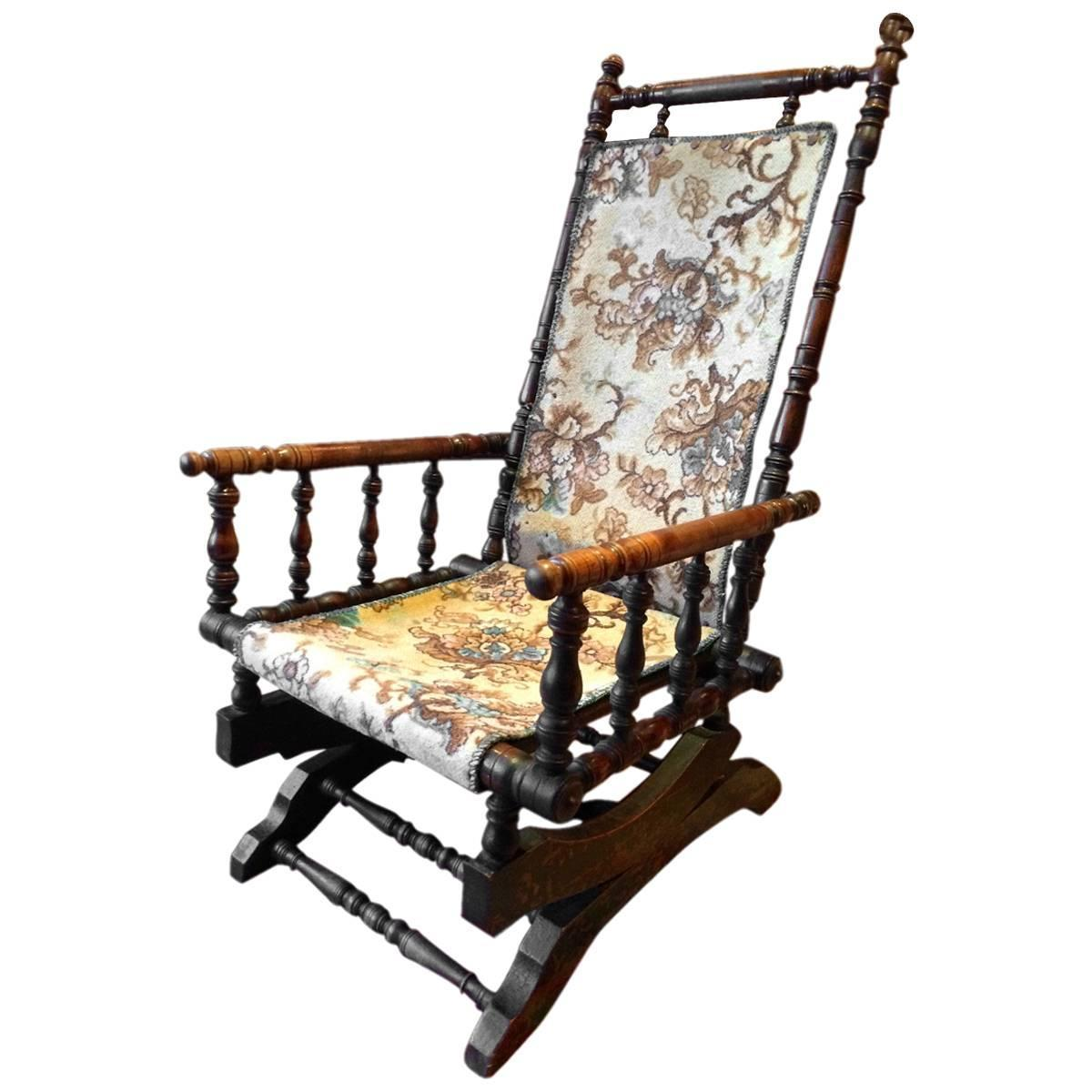 Antique Rocking Chair Antique Armchair American Rocking Chair Mahogany 19th
