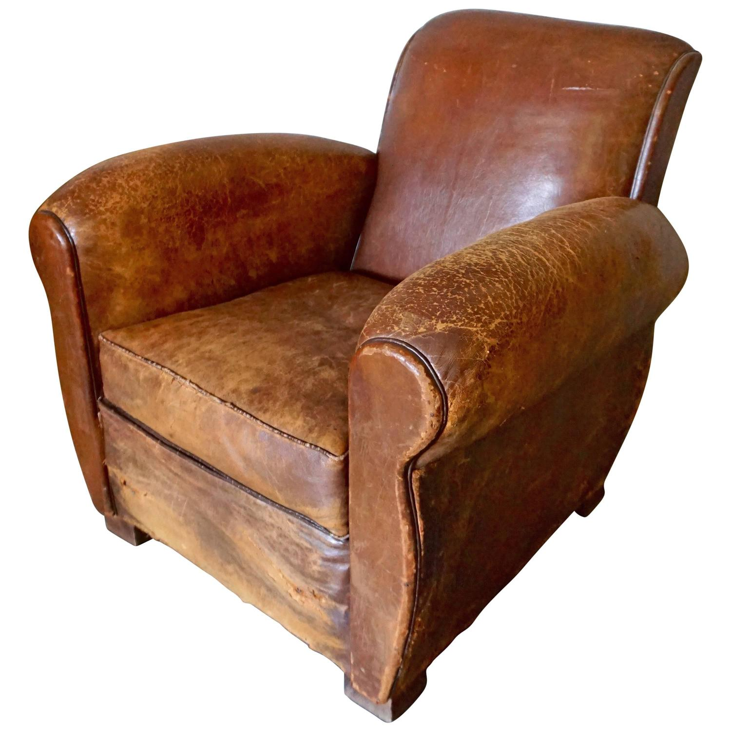 Club Chair Leather Distressed Art Deco French Cognac Leather Club Chair