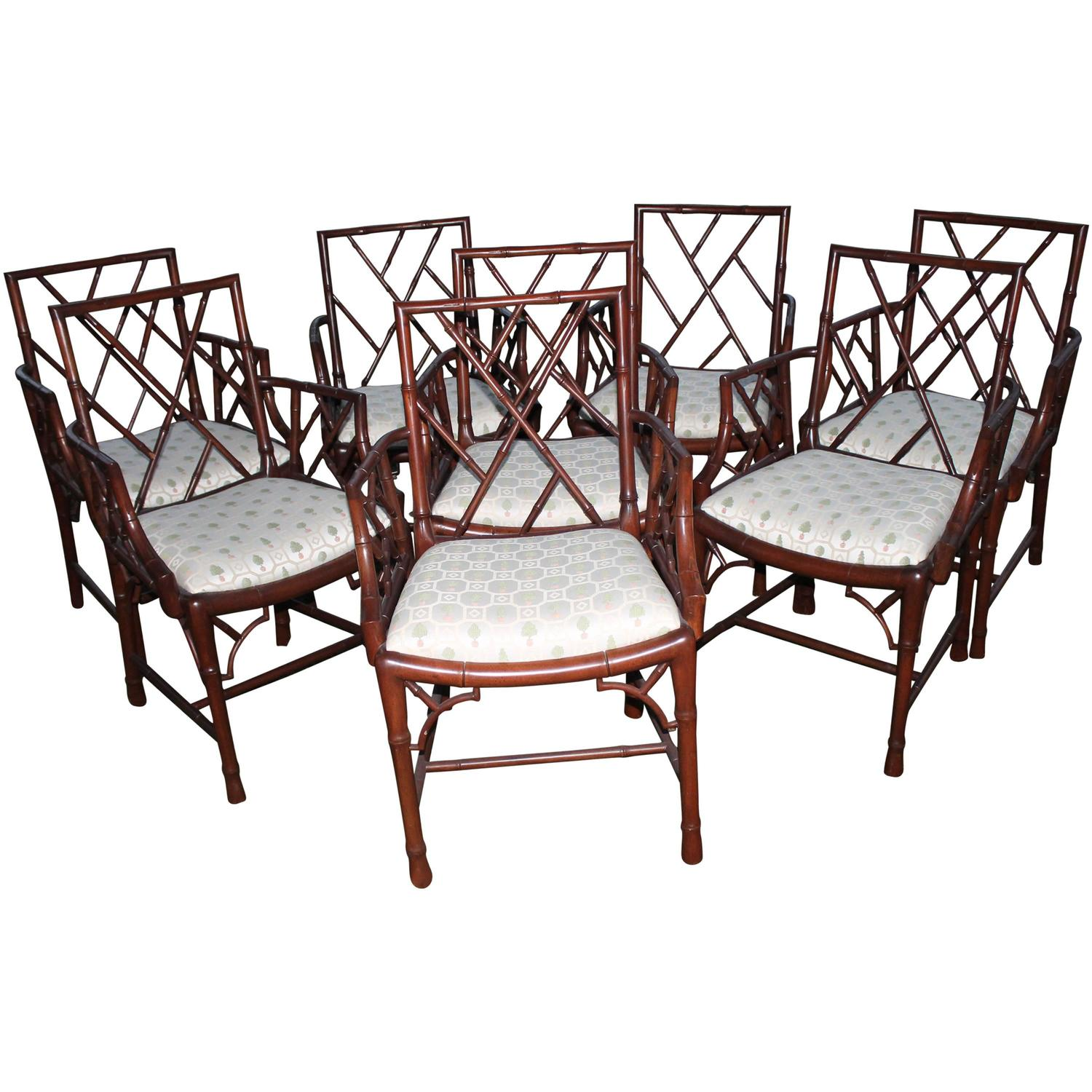 bamboo chairs for sale wicker patio lounge chinese chippendale set of eight faux dining arm