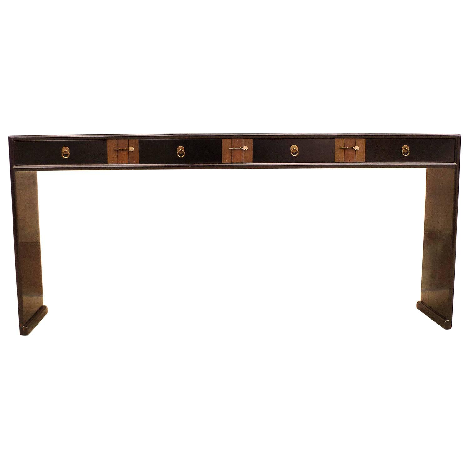 black lacquer sofa table chic republic bed fine console for sale at 1stdibs