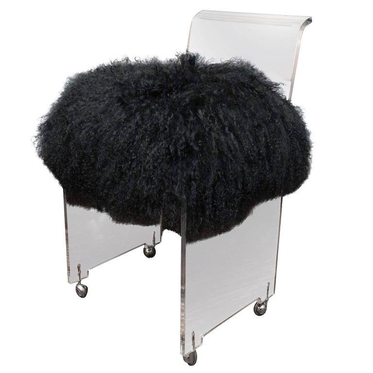 acrylic side chair with cushion wicker cushions clearance custom black mongolian for sale at 1stdibs