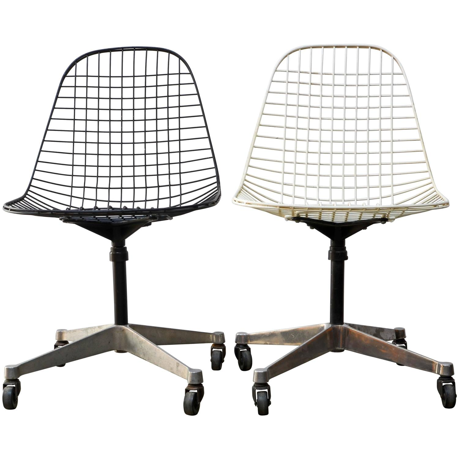 herman miller rolling office chair eames aluminum group lounge pkc wire task chairs for