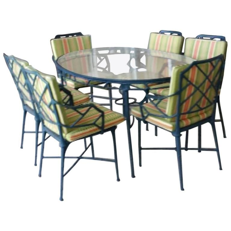 cushions for metal folding chairs hanging chair gauteng 9 pc brown jordan calcutta patio set dining table arm end tables bamboo at 1stdibs