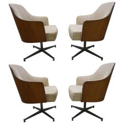 Swivel Chair Dining Lounge Chairs For Pool Area Four Milo Baughman Style Teak Back