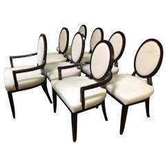 X Back Chairs Damask Accent Chair Set Of Eight Barbara Barry For Baker Oval Dining
