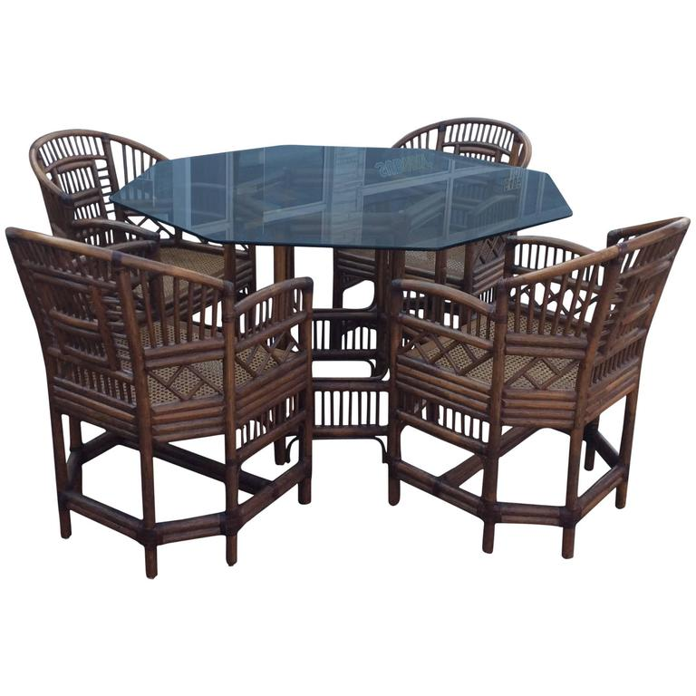 rattan table and chairs basket swing chair brighton style dining set game chinese chippendale four for sale