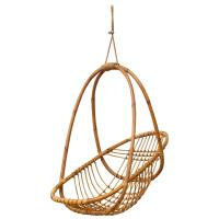 Retro Hanging Bamboo Egg Basket Chair at 1stdibs