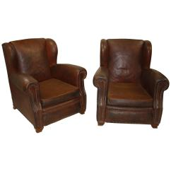 French Club Chairs For Sale Kids Personalized Chair Pair Of Leather At 1stdibs