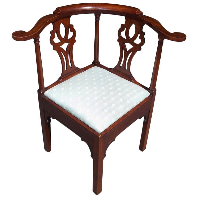 wooden corner chair swing very american georgian walnut upholstered circa 1770 for sale