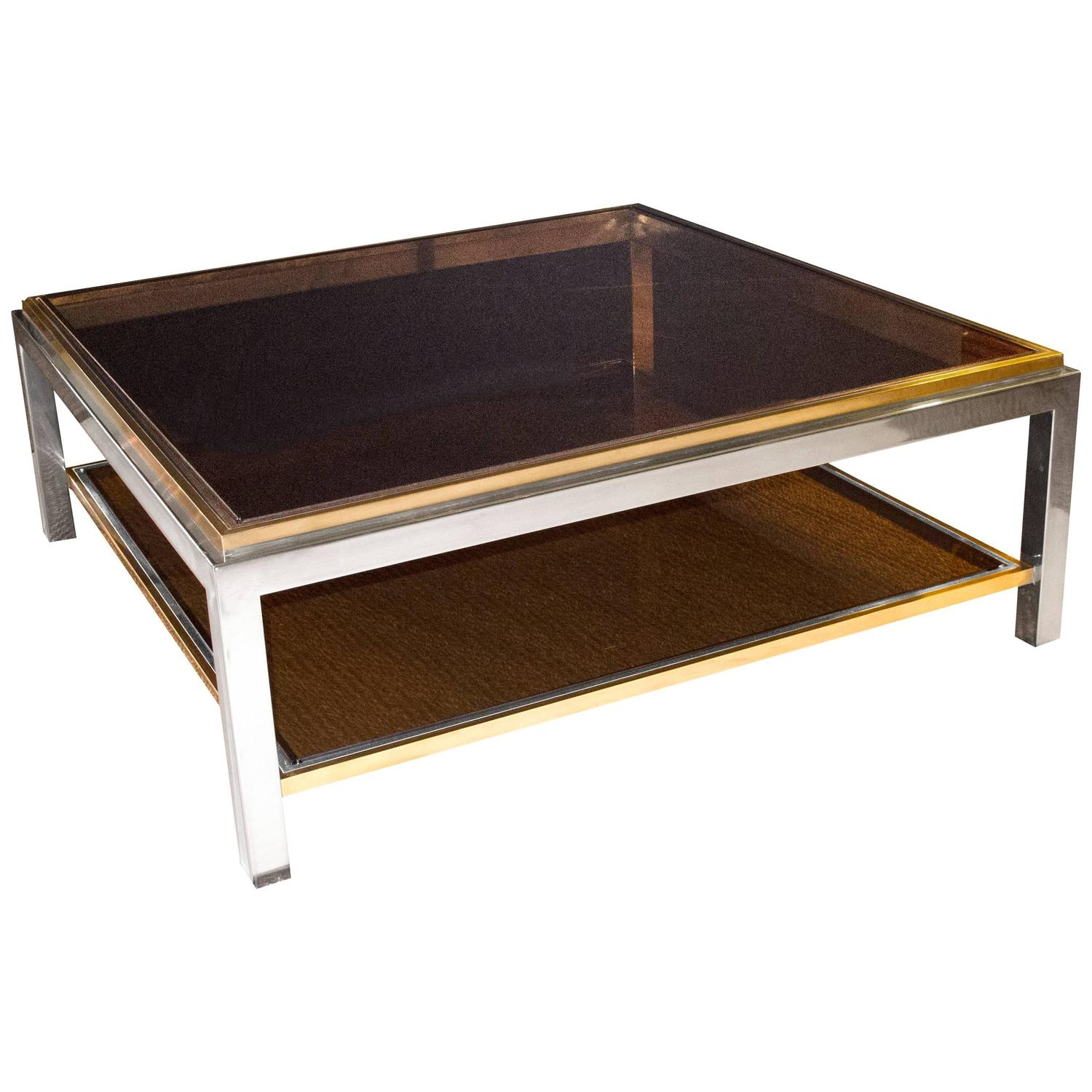 french signed maison charles square brass and chrome coffee table smoked glass