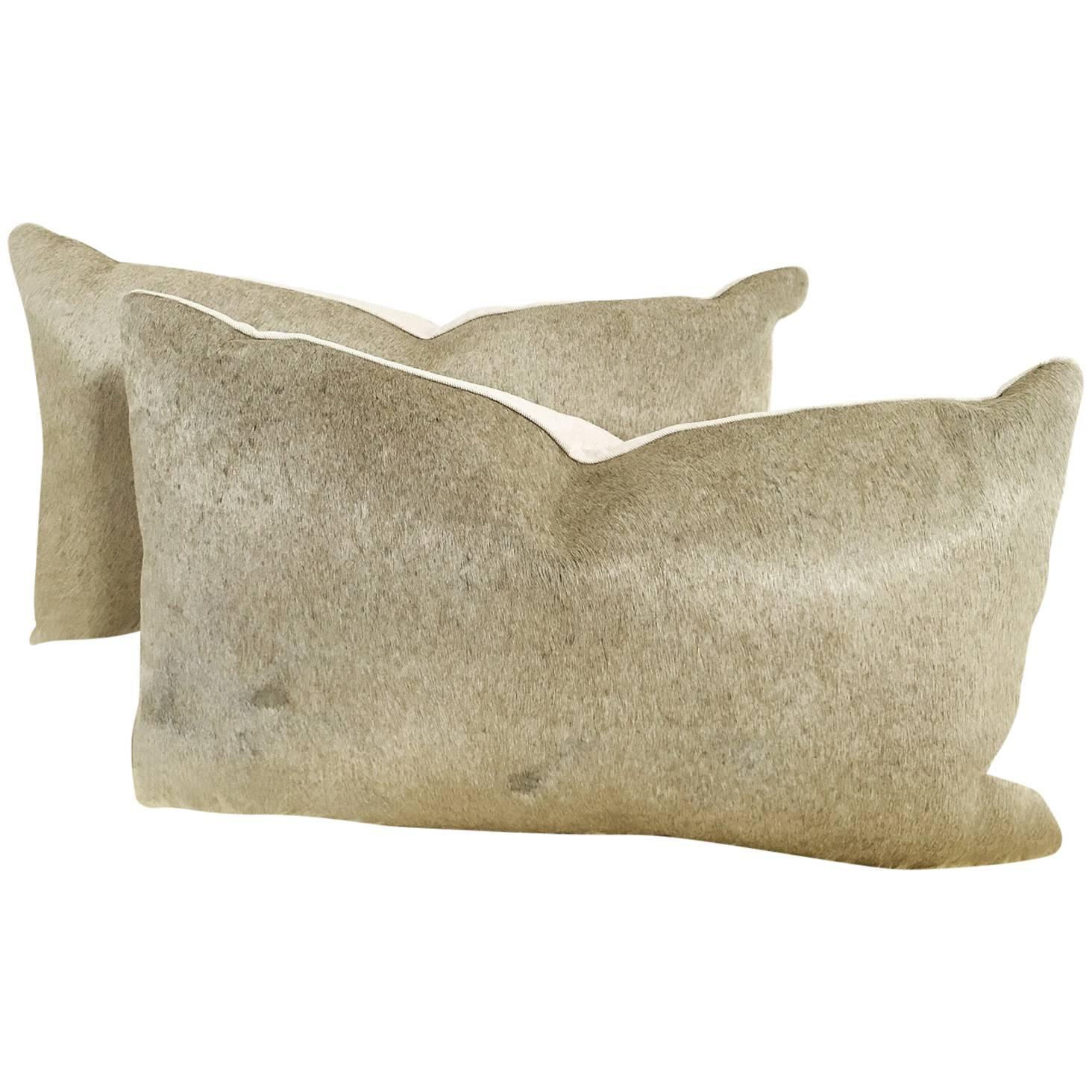 cowhide sofa throws most comfortable sofas consumer reports pair of grey pillows at 1stdibs