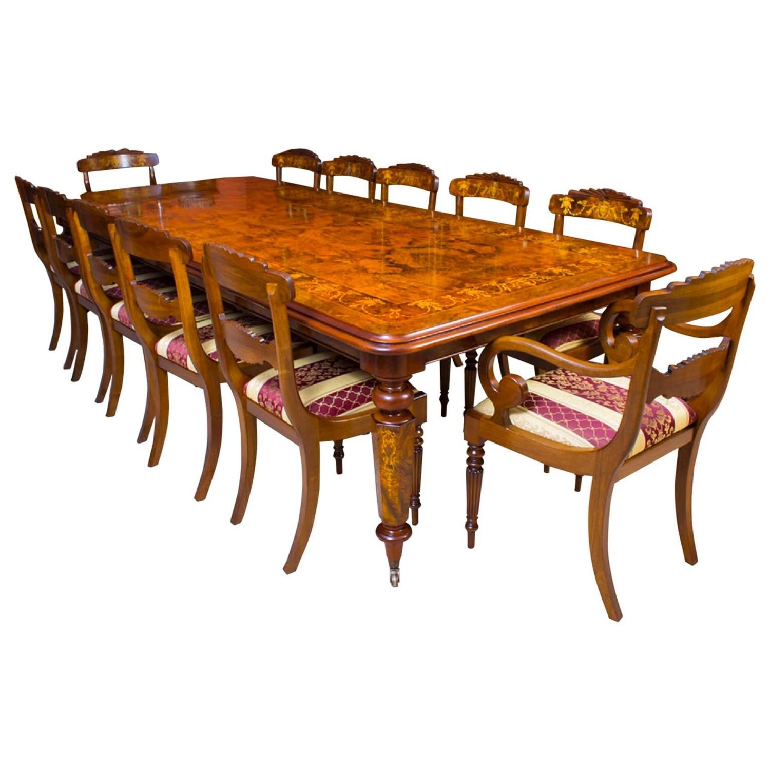 12 Chairs Victorian Style Marquetry Dining Table And 12 Chairs For