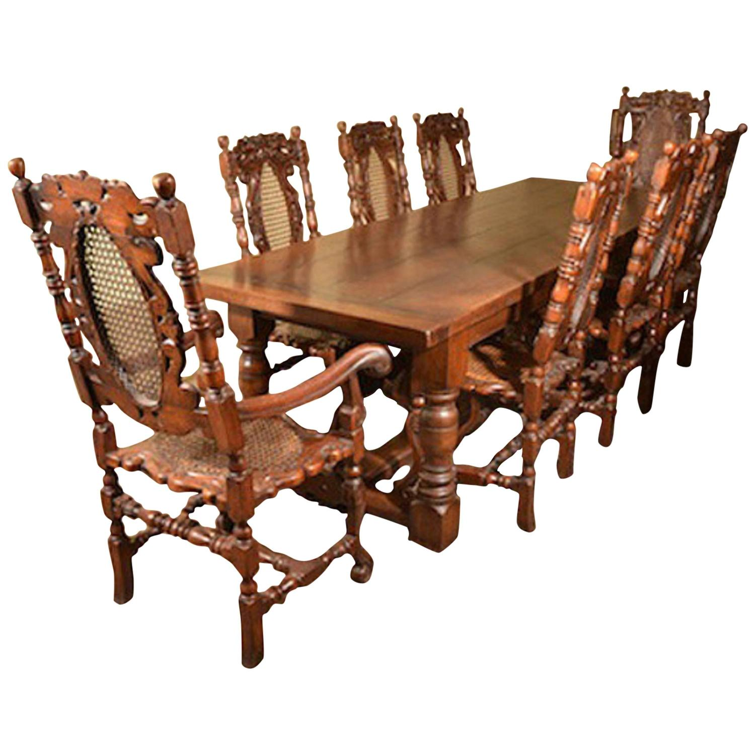 solid oak dining table and chairs steelcase jersey chair refectory eight carolean
