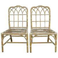 Pair of McGuire Chinese Chippendale Bamboo Dining Chairs ...