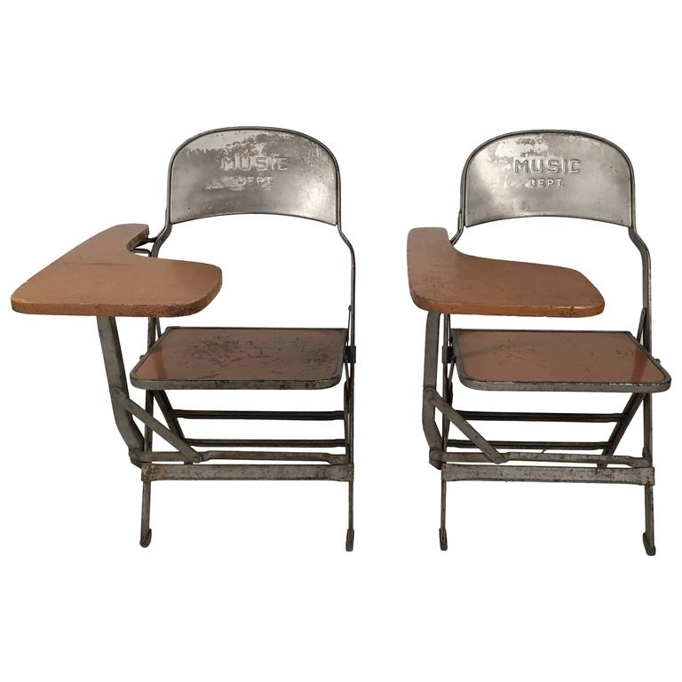 folding chair desk computer game pair of music department chairs with arms at 1stdibs for sale