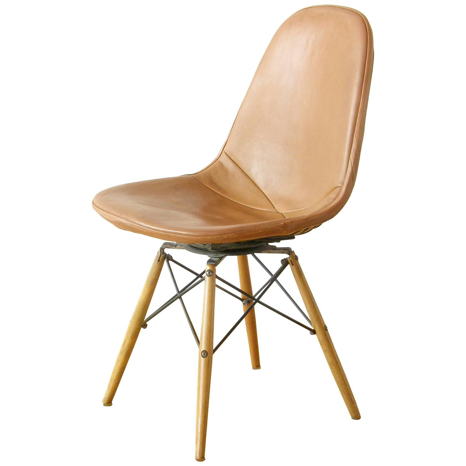 swivel chair wooden legs beige banquet covers eames dowel leg at 1stdibs