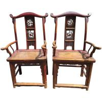 Chinese Antique Pair Scholar Chairs Qing Dynasty, 19th ...
