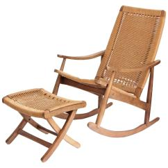 Hans Wegner Rocking Chair Walmart Pool Chairs Woven Rope Mid-century Modern And Ottoman At 1stdibs