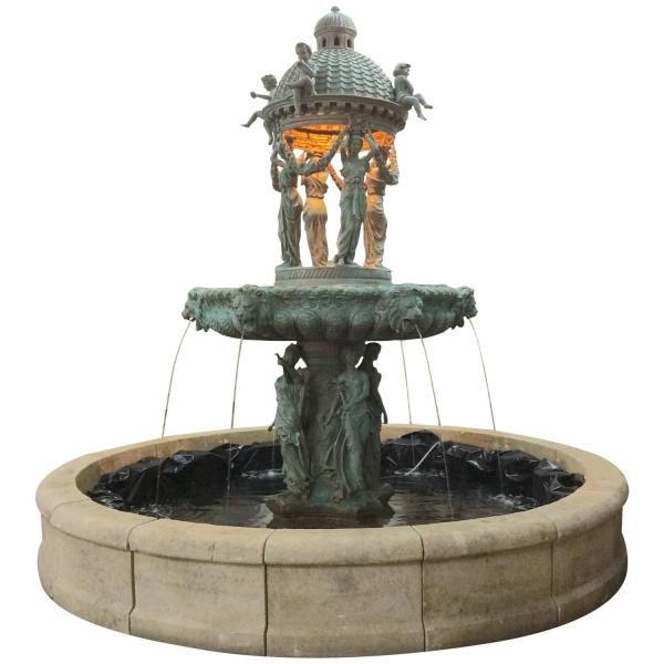 Bronze Fountain With Lionhead Spouts 1stdibs
